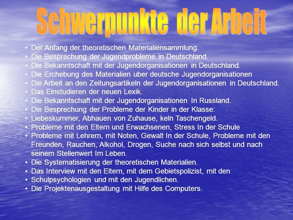 Der Anfang der theoretischen Materialiensammlung. Die Besprechung der Jugendprobleme in Deutschland. Die Bekanntschaft mit der Jugendorganisationen in