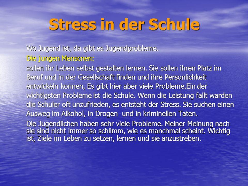Stress in der Schule Wo Jugend ist, da gibt es Jugendprobleme. Die jungen Menscnen: sollen ihr Leben selbst gestalten lernen. Sie sollen ihren Platz i