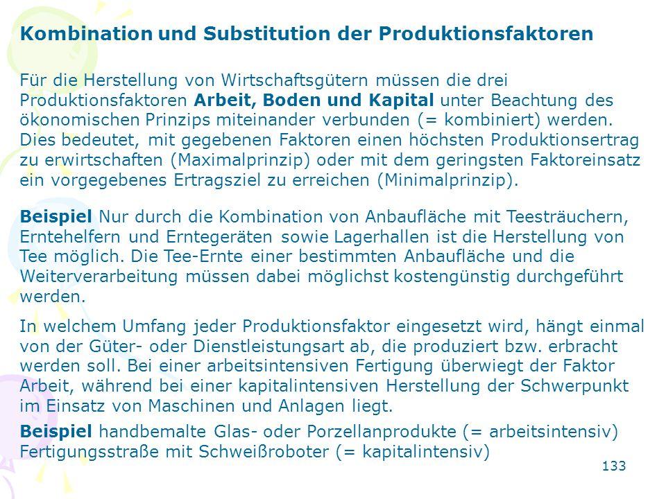 133 Kombination und Substitution der Produktionsfaktoren Für die Herstellung von Wirtschaftsgütern müssen die drei Produktionsfaktoren Arbeit, Boden u