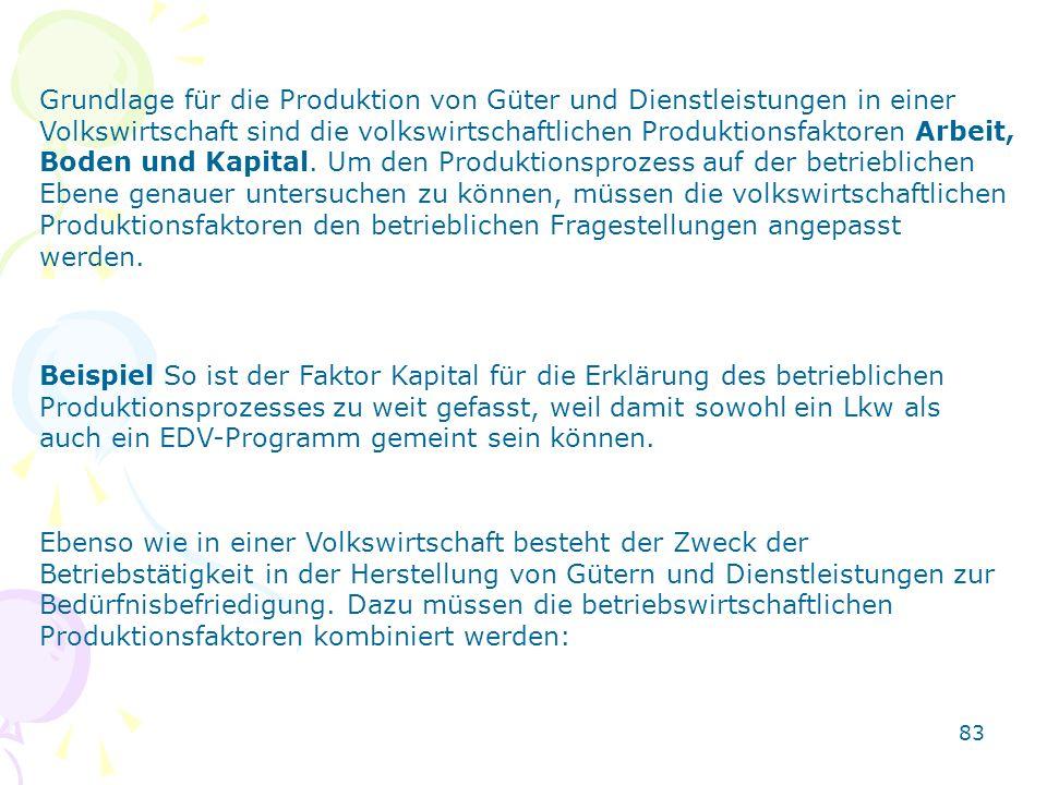 83 Grundlage für die Produktion von Güter und Dienstleistungen in einer Volkswirtschaft sind die volkswirtschaftlichen Produktionsfaktoren Arbeit, Bod
