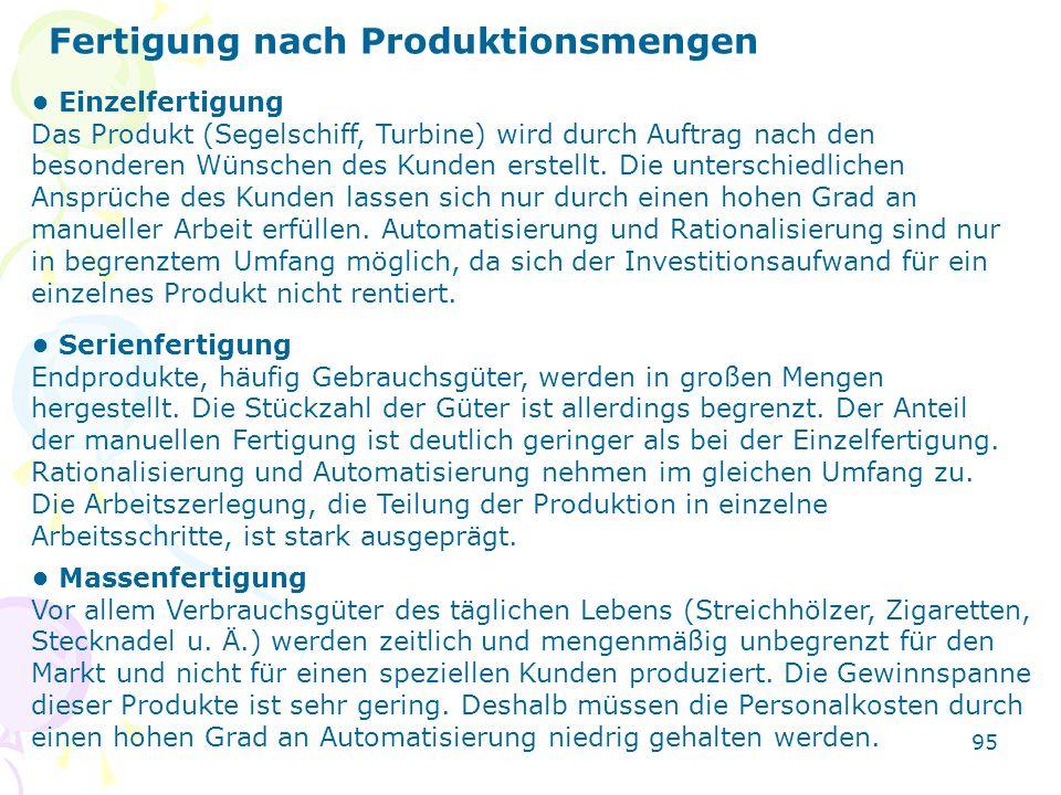 95 Fertigung nach Produktionsmengen Einzelfertigung Das Produkt (Segelschiff, Turbine) wird durch Auftrag nach den besonderen Wünschen des Kunden erst