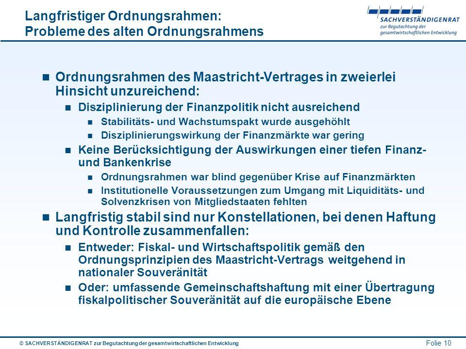 © SACHVERSTÄNDIGENRAT zur Begutachtung der gesamtwirtschaftlichen Entwicklung Folie 10 Langfristiger Ordnungsrahmen: Probleme des alten Ordnungsrahmen