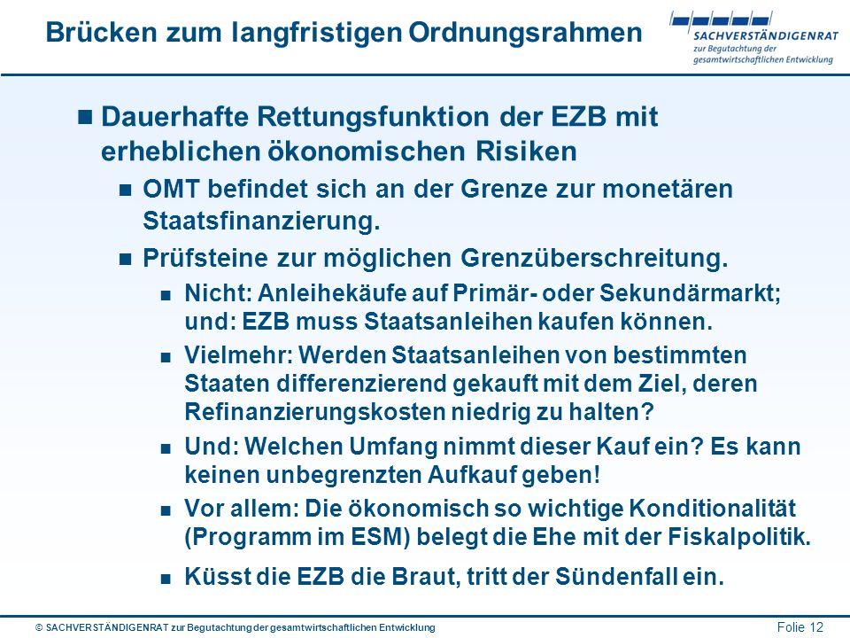 © SACHVERSTÄNDIGENRAT zur Begutachtung der gesamtwirtschaftlichen Entwicklung Folie 12 Brücken zum langfristigen Ordnungsrahmen Dauerhafte Rettungsfun