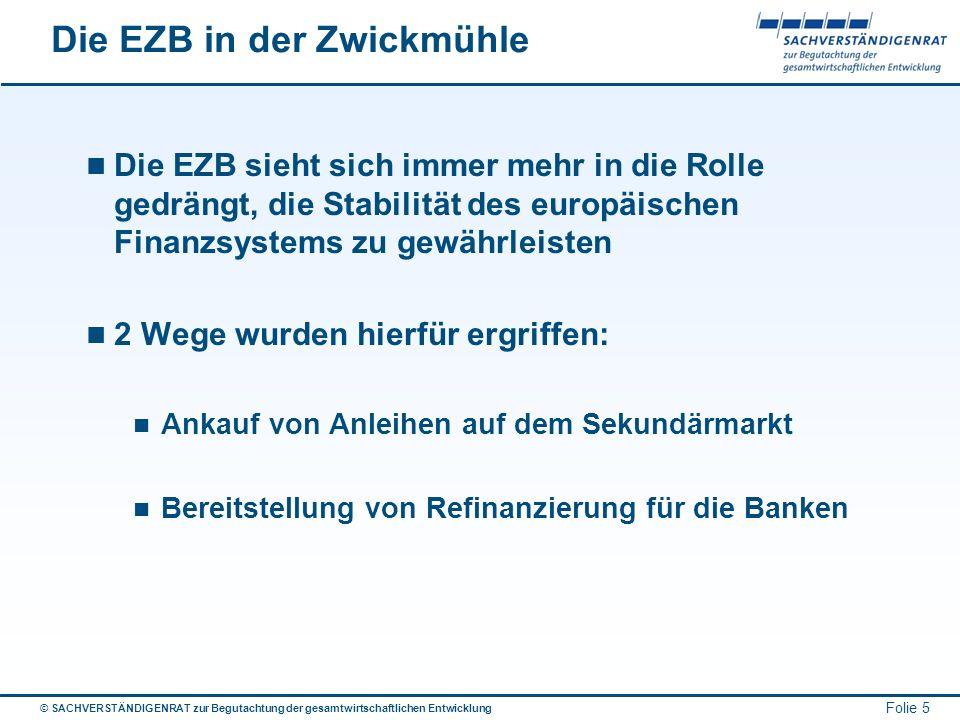 © SACHVERSTÄNDIGENRAT zur Begutachtung der gesamtwirtschaftlichen Entwicklung Folie 5 Die EZB in der Zwickmühle Die EZB sieht sich immer mehr in die R