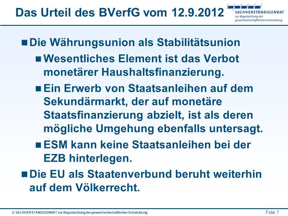 © SACHVERSTÄNDIGENRAT zur Begutachtung der gesamtwirtschaftlichen Entwicklung Folie 7 Das Urteil des BVerfG vom 12.9.2012 Die Währungsunion als Stabil
