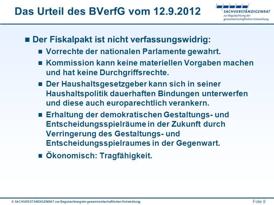 © SACHVERSTÄNDIGENRAT zur Begutachtung der gesamtwirtschaftlichen Entwicklung Folie 8 Das Urteil des BVerfG vom 12.9.2012 Der Fiskalpakt ist nicht ver