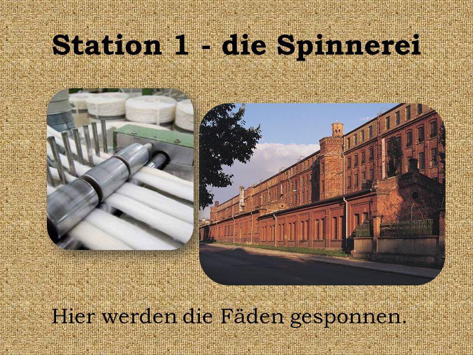 Station 1 - die Spinnerei Hier werden die Fäden gesponnen.