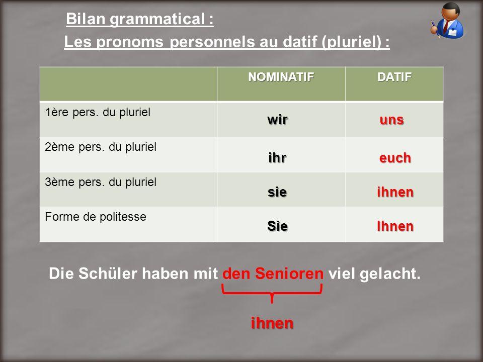 Bilan grammatical : Les pronoms personnels au datif (pluriel) : NOMINATIFDATIF 1ère pers. du pluriel 2ème pers. du pluriel 3ème pers. du pluriel Forme