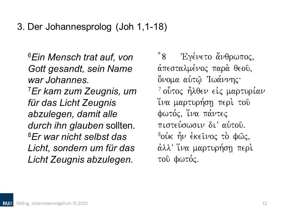 3. Der Johannesprolog (Joh 1,1-18) 6 Ein Mensch trat auf, von Gott gesandt, sein Name war Johannes. 7 Er kam zum Zeugnis, um für das Licht Zeugnis abz
