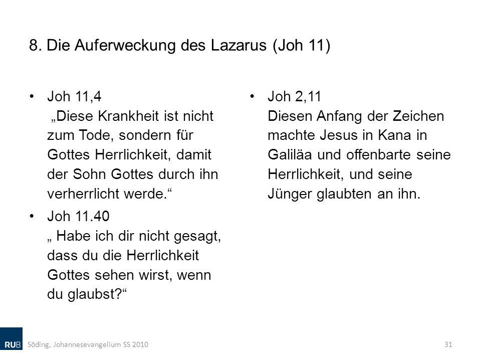 8. Die Auferweckung des Lazarus (Joh 11) Joh 11,4 Diese Krankheit ist nicht zum Tode, sondern für Gottes Herrlichkeit, damit der Sohn Gottes durch ihn