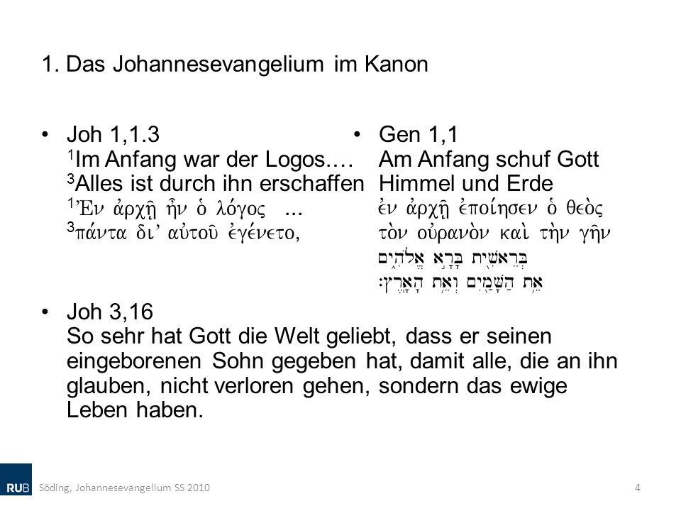1. Das Johannesevangelium im Kanon Joh 1,1.3 1 Im Anfang war der Logos.… 3 Alles ist durch ihn erschaffen 1 VEn avrch/| h=n o` lo,goj... 3 pa,nta diV