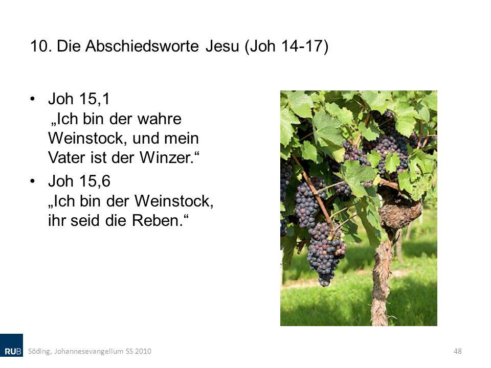 10. Die Abschiedsworte Jesu (Joh 14-17) Joh 15,1 Ich bin der wahre Weinstock, und mein Vater ist der Winzer. Joh 15,6 Ich bin der Weinstock, ihr seid