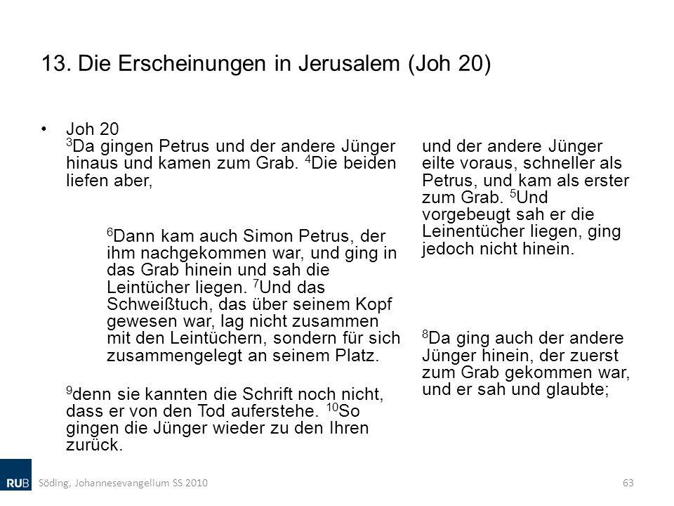 13. Die Erscheinungen in Jerusalem (Joh 20) Joh 20 3 Da gingen Petrus und der andere Jünger hinaus und kamen zum Grab. 4 Die beiden liefen aber, 6 Dan