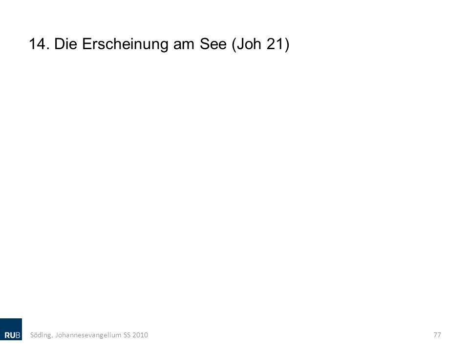 14. Die Erscheinung am See (Joh 21) Söding, Johannesevangelium SS 201077