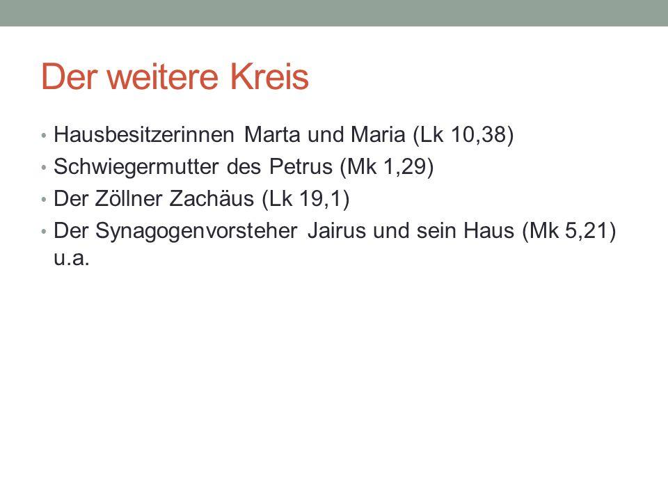 Der weitere Kreis Hausbesitzerinnen Marta und Maria (Lk 10,38) Schwiegermutter des Petrus (Mk 1,29) Der Zöllner Zachäus (Lk 19,1) Der Synagogenvorsteh