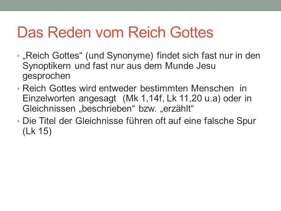 Das Reden vom Reich Gottes Reich Gottes (und Synonyme) findet sich fast nur in den Synoptikern und fast nur aus dem Munde Jesu gesprochen Reich Gottes