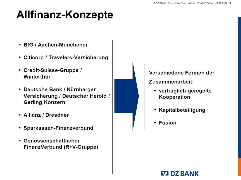 © DZ BANK · Zukunft des Finanzsektors · F/VUVG Sellien · 11.12.2002 · 2 Allfinanz-Konzepte BfG / Aachen-Münchener Citicorp / Travelers-Versicherung Cr