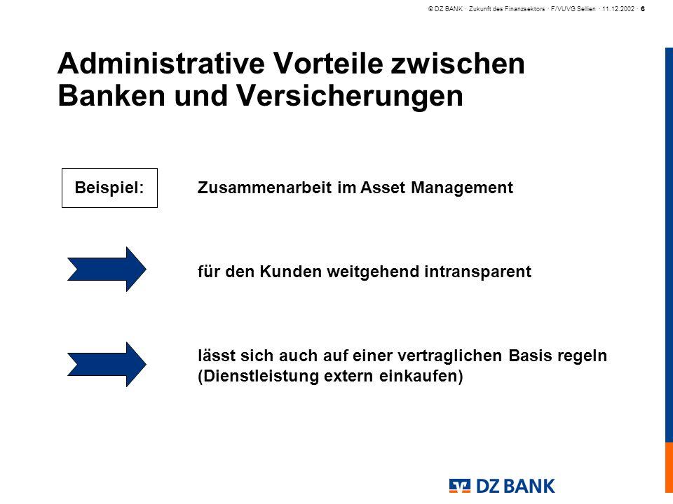 © DZ BANK · Zukunft des Finanzsektors · F/VUVG Sellien · 11.12.2002 · 6 Administrative Vorteile zwischen Banken und Versicherungen Zusammenarbeit im A