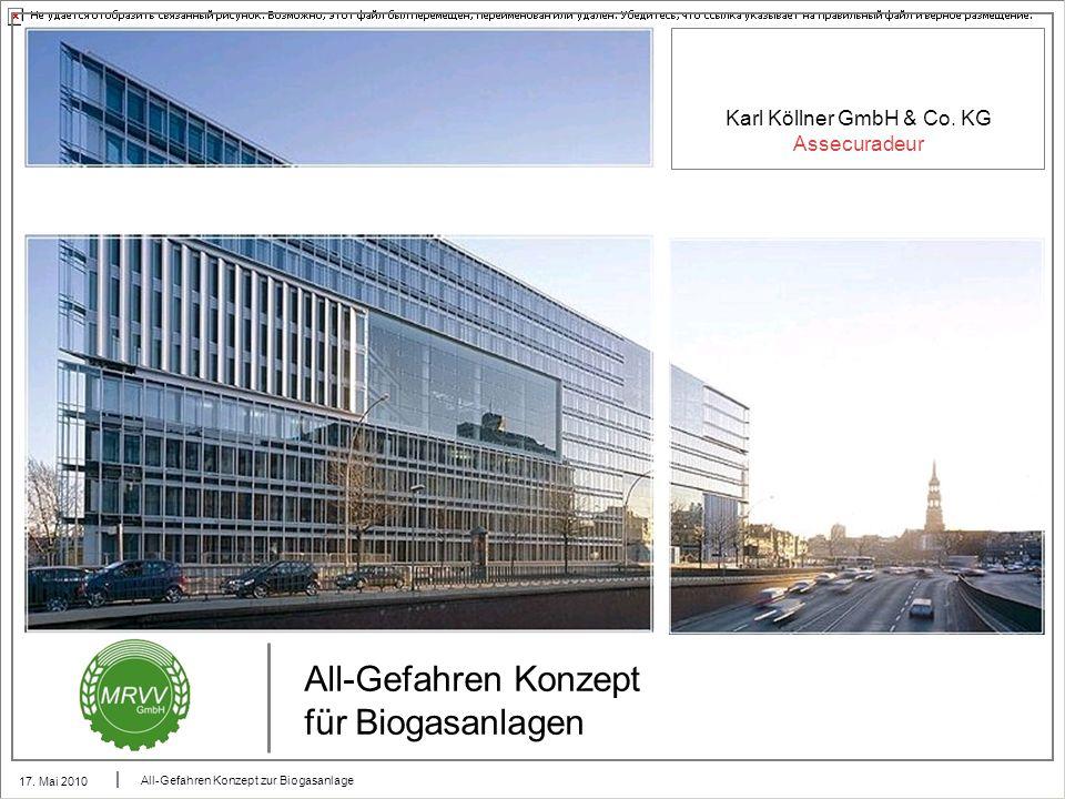 Karl Köllner GmbH & Co. KG Assecuradeur 17. Mai 2010 All-Gefahren Konzept zur Biogasanlage All-Gefahren Konzept für Biogasanlagen