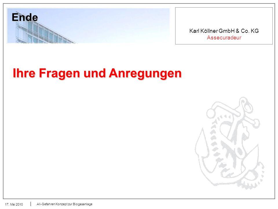 Karl Köllner GmbH & Co. KG Assecuradeur 17. Mai 2010 All-Gefahren Konzept zur Biogasanlage Ende Ihre Fragen und Anregungen