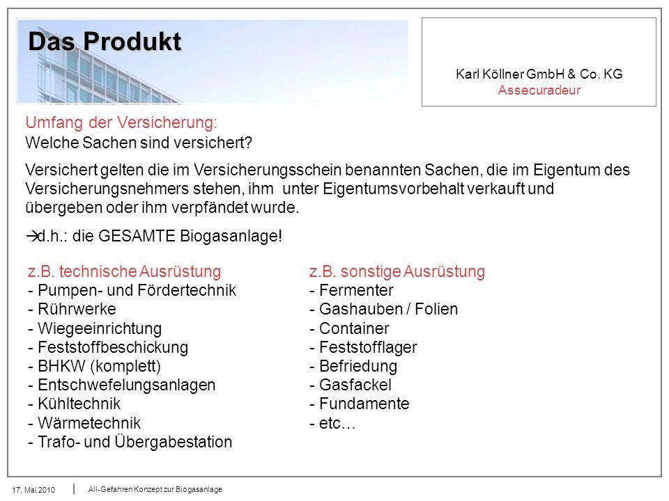 Karl Köllner GmbH & Co. KG Assecuradeur 17. Mai 2010 All-Gefahren Konzept zur Biogasanlage Das Produkt Umfang der Versicherung: Welche Sachen sind ver