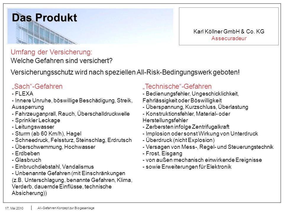 Karl Köllner GmbH & Co. KG Assecuradeur 17. Mai 2010 All-Gefahren Konzept zur Biogasanlage Das Produkt Umfang der Versicherung: Welche Gefahren sind v