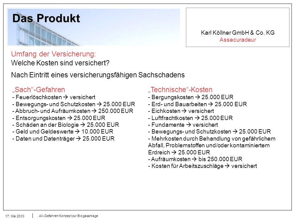 Karl Köllner GmbH & Co. KG Assecuradeur 17. Mai 2010 All-Gefahren Konzept zur Biogasanlage Das Produkt Umfang der Versicherung: Welche Kosten sind ver