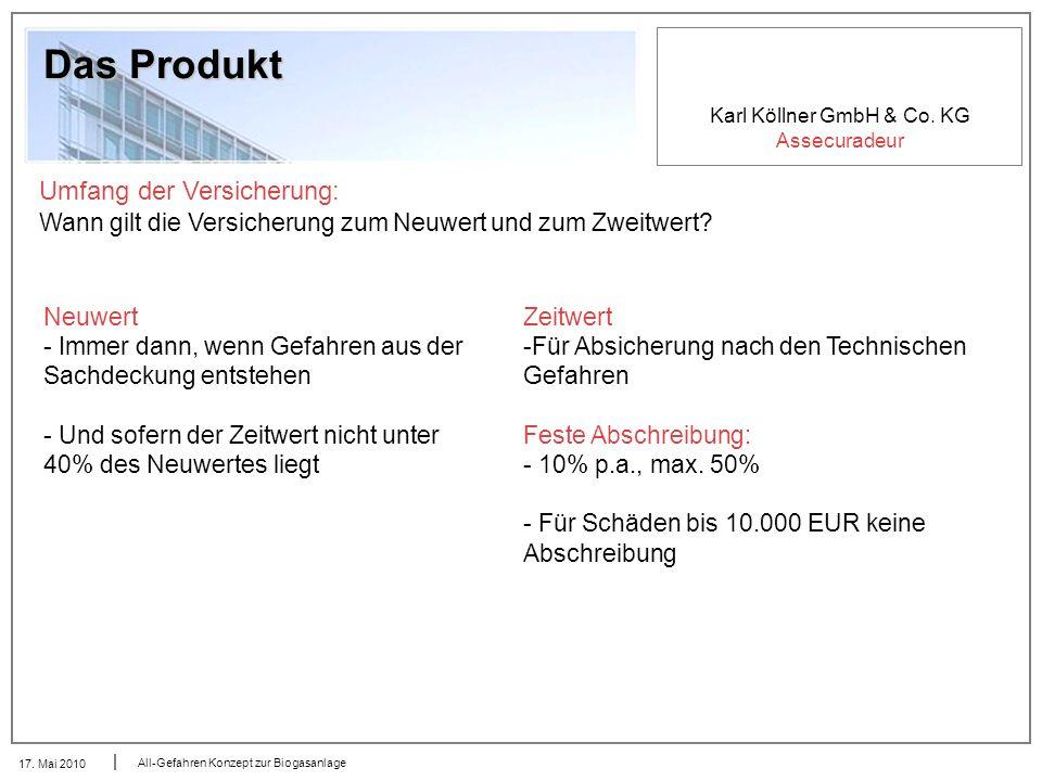 Karl Köllner GmbH & Co. KG Assecuradeur 17. Mai 2010 All-Gefahren Konzept zur Biogasanlage Das Produkt Umfang der Versicherung: Wann gilt die Versiche