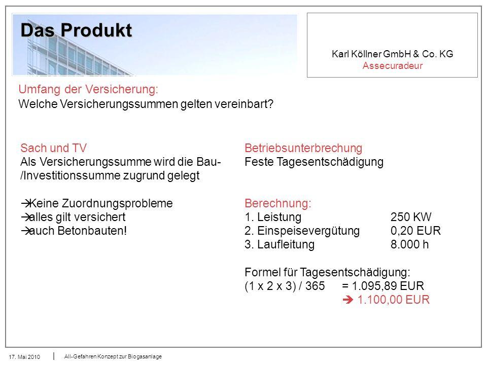 Karl Köllner GmbH & Co. KG Assecuradeur 17. Mai 2010 All-Gefahren Konzept zur Biogasanlage Das Produkt Umfang der Versicherung: Welche Versicherungssu