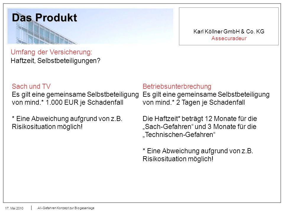 Karl Köllner GmbH & Co. KG Assecuradeur 17. Mai 2010 All-Gefahren Konzept zur Biogasanlage Das Produkt Umfang der Versicherung: Haftzeit, Selbstbeteil
