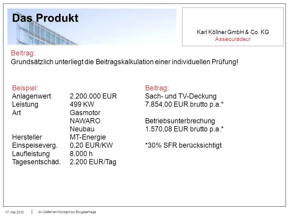 Karl Köllner GmbH & Co. KG Assecuradeur 17. Mai 2010 All-Gefahren Konzept zur Biogasanlage Das Produkt Beitrag: Grundsätzlich unterliegt die Beitragsk