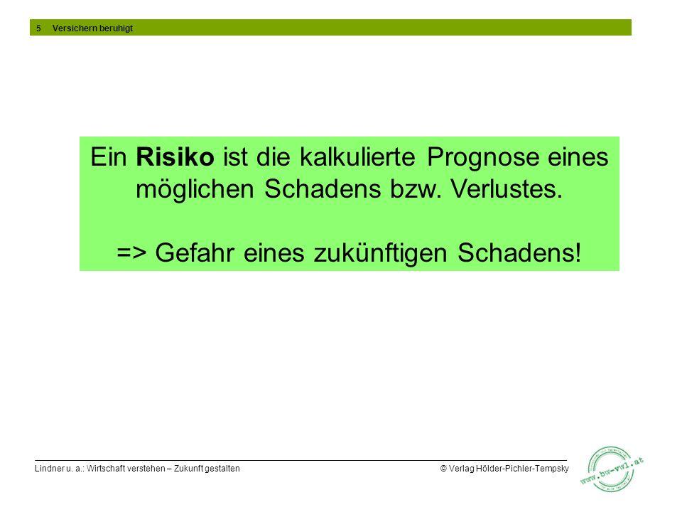 Lindner u. a.: Wirtschaft verstehen – Zukunft gestalten © Verlag Hölder-Pichler-Tempsky Ein Risiko ist die kalkulierte Prognose eines möglichen Schade