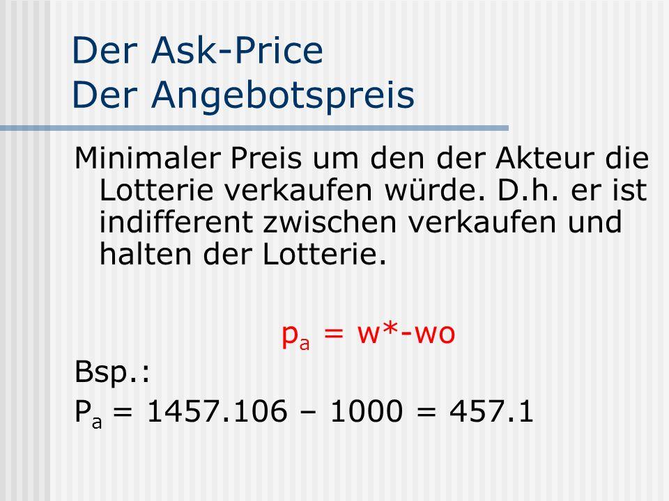 Der Ask-Price Der Angebotspreis Minimaler Preis um den der Akteur die Lotterie verkaufen würde. D.h. er ist indifferent zwischen verkaufen und halten