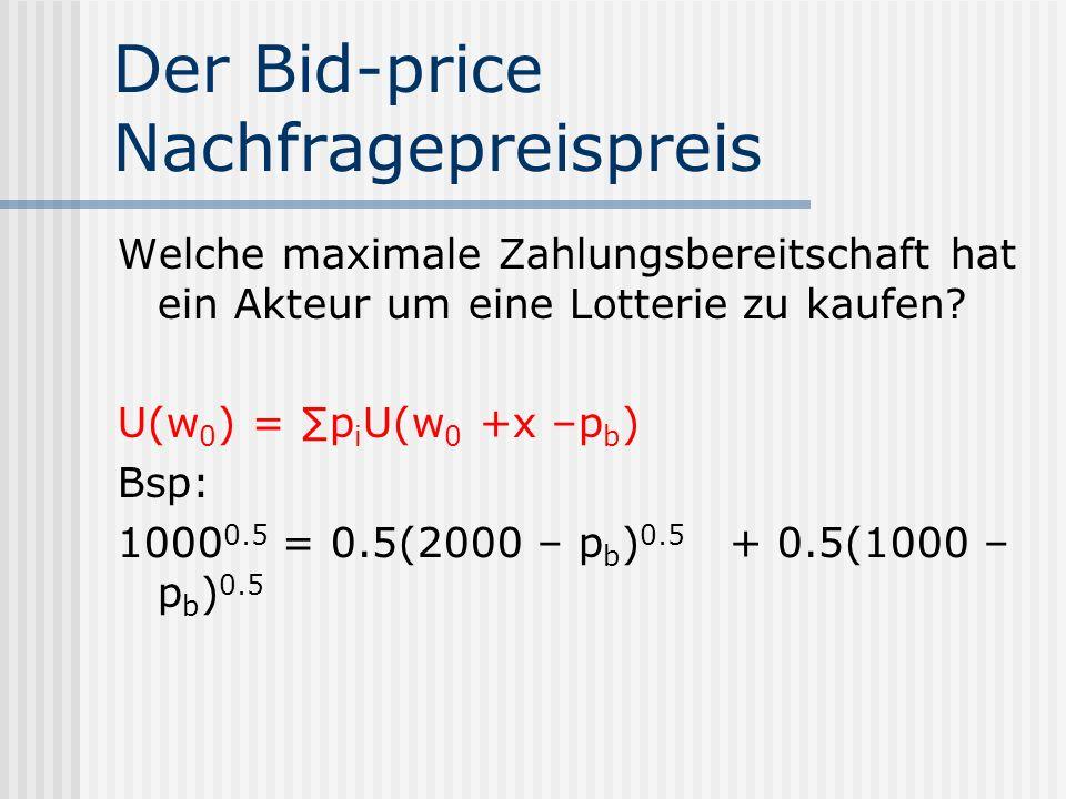 Der Bid-price Nachfragepreispreis Welche maximale Zahlungsbereitschaft hat ein Akteur um eine Lotterie zu kaufen? U(w 0 ) = p i U(w 0 +x –p b ) Bsp: 1