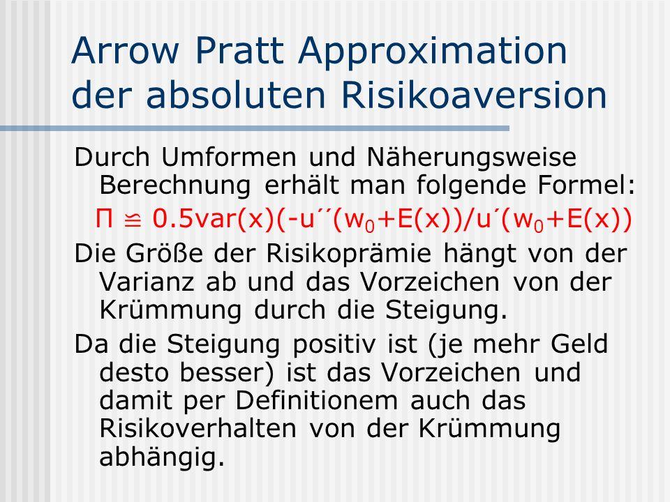 Arrow Pratt Approximation der absoluten Risikoaversion Durch Umformen und Näherungsweise Berechnung erhält man folgende Formel: П 0.5var(x)(-u´´(w 0 +