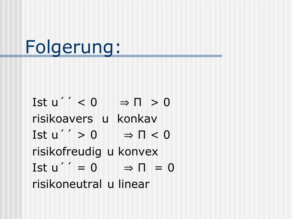 Folgerung: Ist u´´ 0 risikoavers u konkav Ist u´´ > 0 П < 0 risikofreudig u konvex Ist u´´ = 0 П = 0 risikoneutral u linear