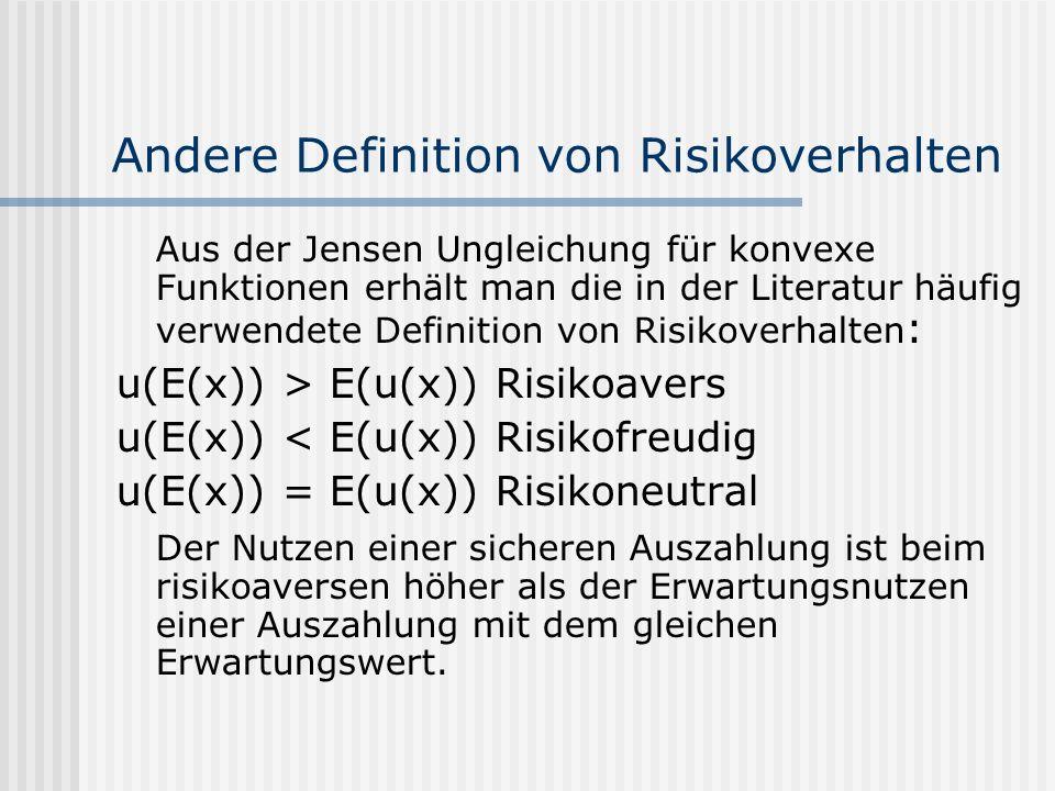 Andere Definition von Risikoverhalten Aus der Jensen Ungleichung für konvexe Funktionen erhält man die in der Literatur häufig verwendete Definition v