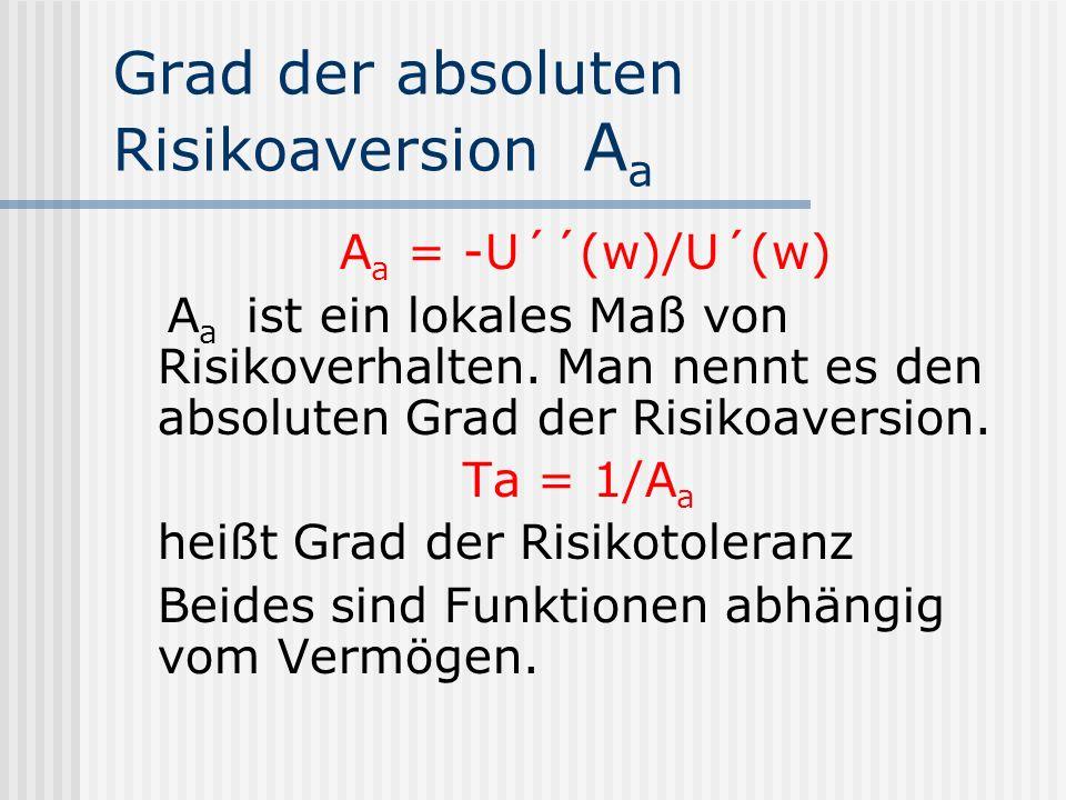 Grad der absoluten Risikoaversion A a A a = -U´´(w)/U´(w) A a ist ein lokales Maß von Risikoverhalten. Man nennt es den absoluten Grad der Risikoavers
