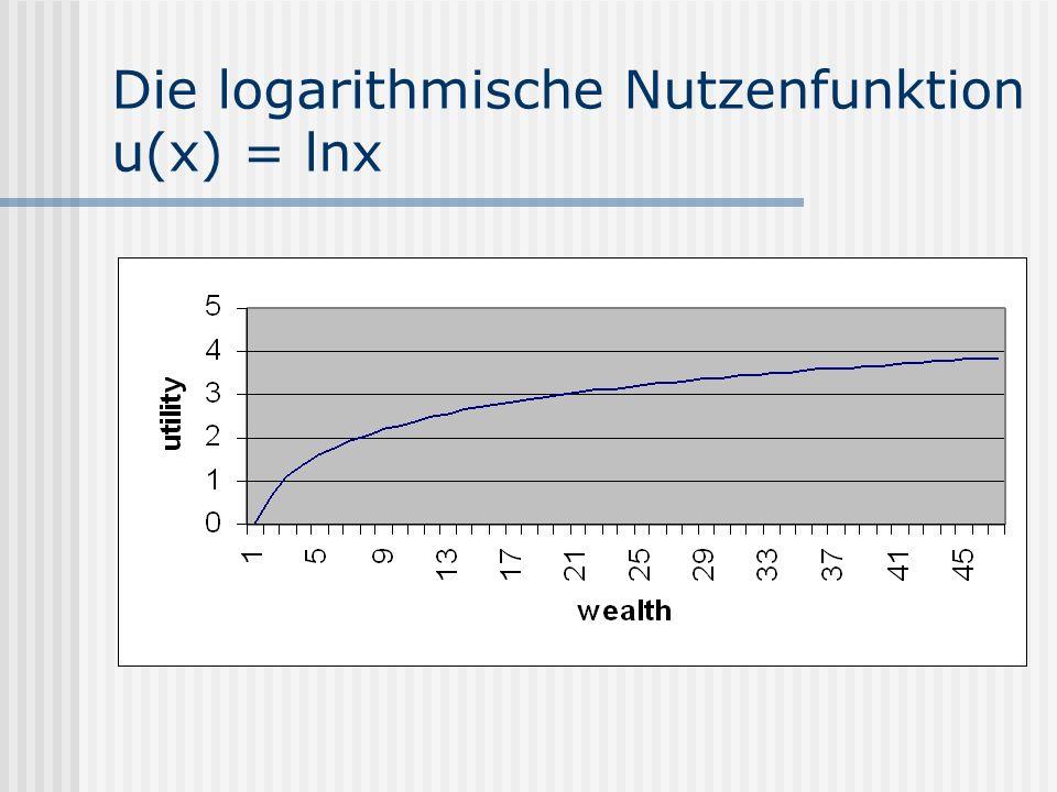 Die logarithmische Nutzenfunktion u(x) = lnx