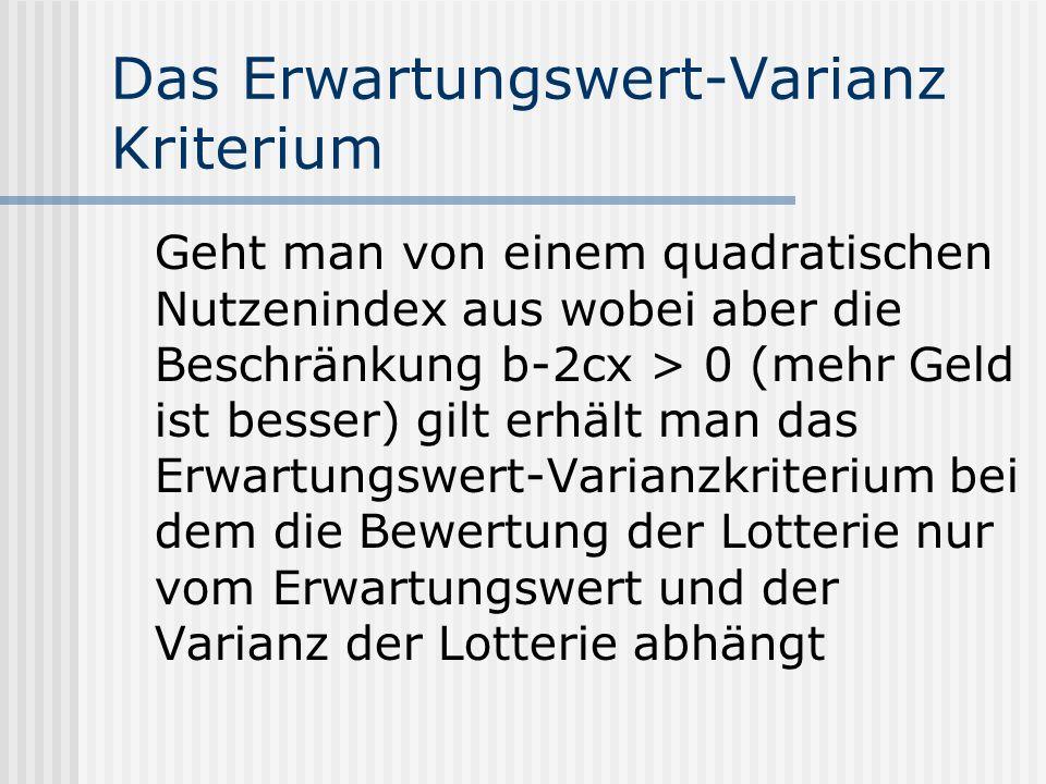 Das Erwartungswert-Varianz Kriterium Geht man von einem quadratischen Nutzenindex aus wobei aber die Beschränkung b-2cx > 0 (mehr Geld ist besser) gil