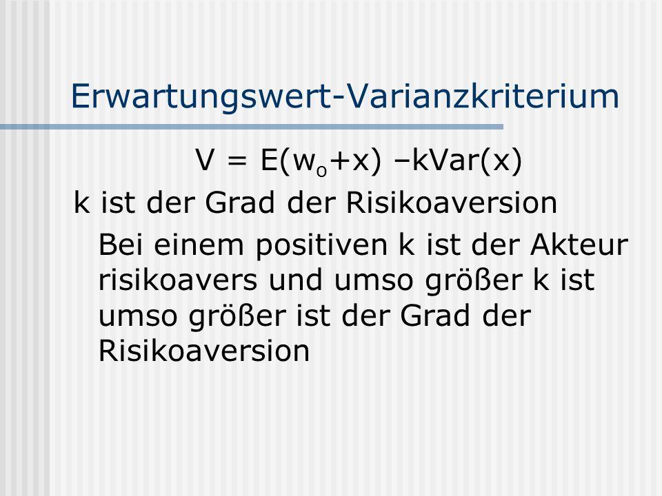Erwartungswert-Varianzkriterium V = E(w o +x) –kVar(x) k ist der Grad der Risikoaversion Bei einem positiven k ist der Akteur risikoavers und umso grö