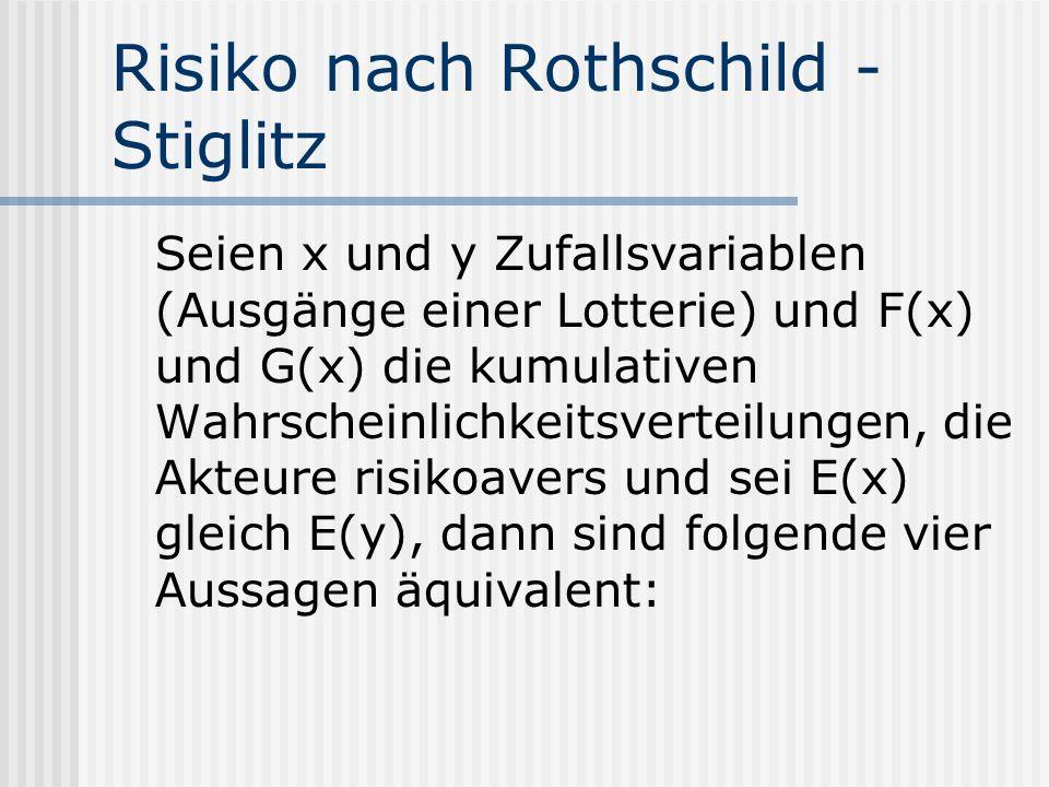 Risiko nach Rothschild - Stiglitz Seien x und y Zufallsvariablen (Ausgänge einer Lotterie) und F(x) und G(x) die kumulativen Wahrscheinlichkeitsvertei