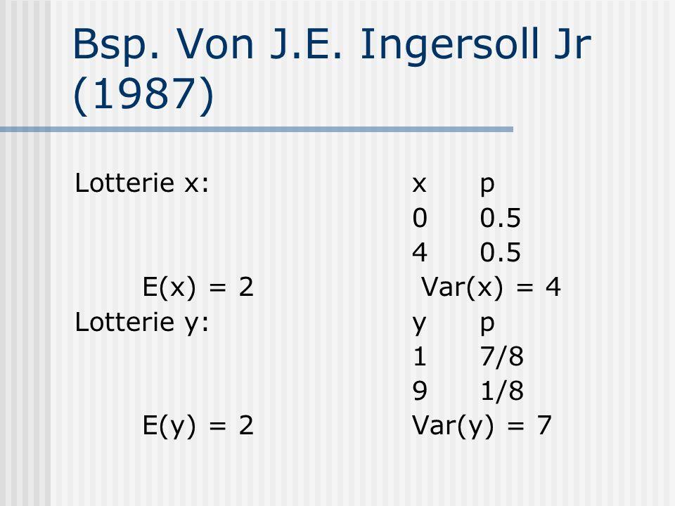 Bsp. Von J.E. Ingersoll Jr (1987) Lotterie x:xp 00.5 40.5 E(x) = 2 Var(x) = 4 Lotterie y:yp 17/8 91/8 E(y) = 2 Var(y) = 7