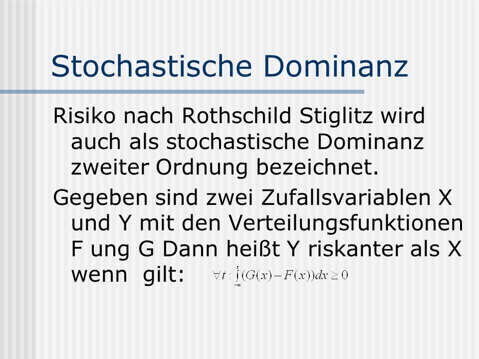 Stochastische Dominanz Risiko nach Rothschild Stiglitz wird auch als stochastische Dominanz zweiter Ordnung bezeichnet. Gegeben sind zwei Zufallsvaria