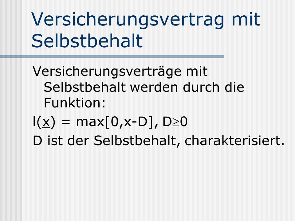 Versicherungsvertrag mit Selbstbehalt Versicherungsverträge mit Selbstbehalt werden durch die Funktion: l(x) = max[0,x-D], D0 D ist der Selbstbehalt,