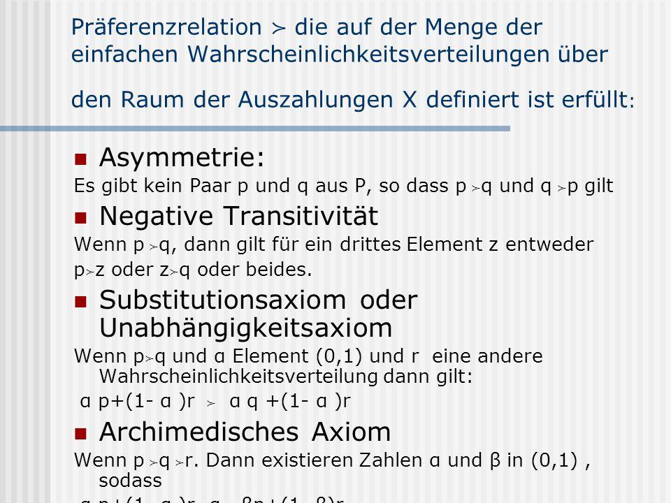 Präferenzrelation die auf der Menge der einfachen Wahrscheinlichkeitsverteilungen über den Raum der Auszahlungen X definiert ist erfüllt : Asymmetrie: