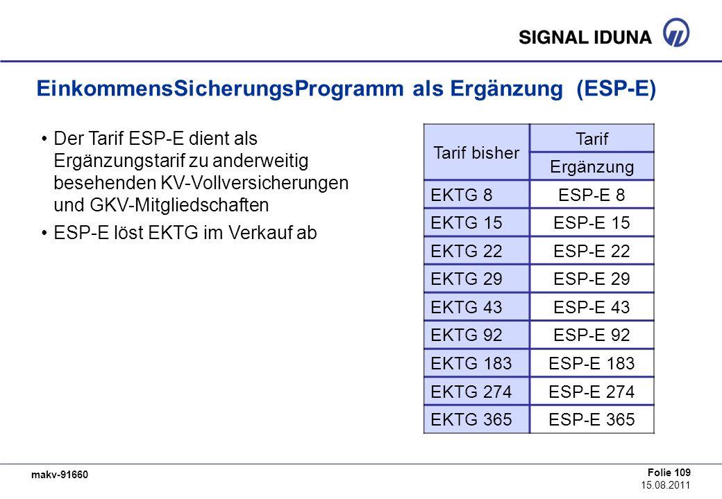 makv-91660 Folie 109 15.08.2011 EinkommensSicherungsProgramm als Ergänzung (ESP-E) Tarif bisher Tarif Ergänzung EKTG 8ESP-E 8 EKTG 15ESP-E 15 EKTG 22E