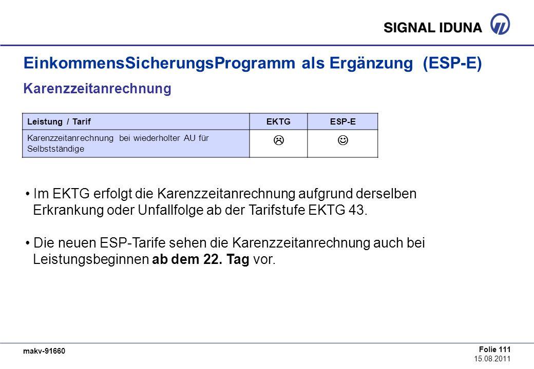 makv-91660 Folie 111 15.08.2011 EinkommensSicherungsProgramm als Ergänzung (ESP-E) Karenzzeitanrechnung Im EKTG erfolgt die Karenzzeitanrechnung aufgr