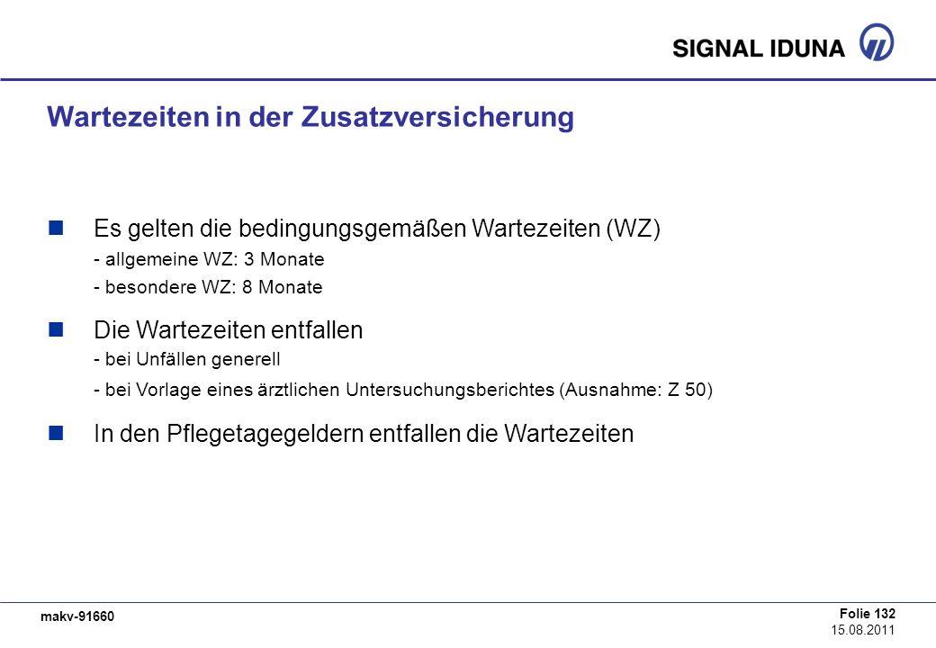 makv-91660 Folie 132 15.08.2011 Wartezeiten in der Zusatzversicherung Es gelten die bedingungsgemäßen Wartezeiten (WZ) - allgemeine WZ: 3 Monate - bes