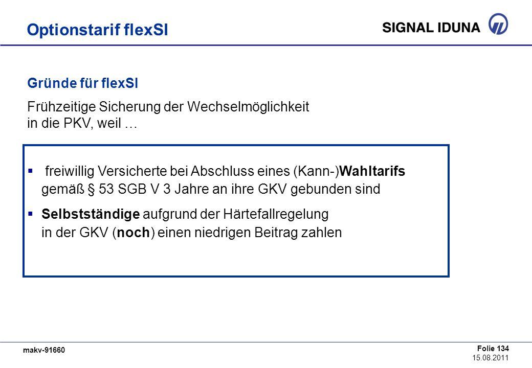 makv-91660 Folie 134 15.08.2011 Gründe für flexSI Frühzeitige Sicherung der Wechselmöglichkeit in die PKV, weil … freiwillig Versicherte bei Abschluss